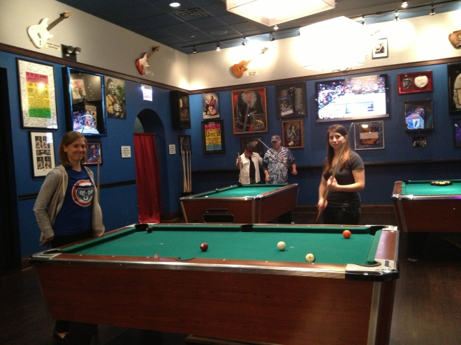 Rocio and Katherine were lured by the free pool tables.