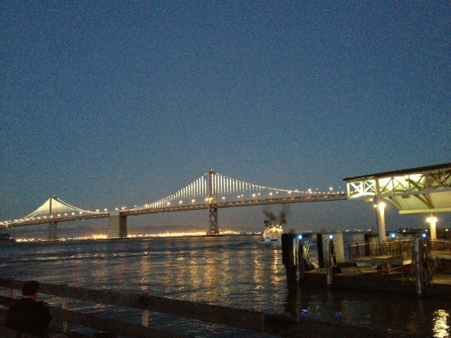 This is NOT the Golden Gate bridge.  It's the less popular sister, the Bay Bridge.